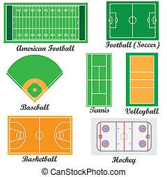 Conjunto, campos, deporte, juegos