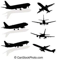 avião, silueta, pretas, vetorial