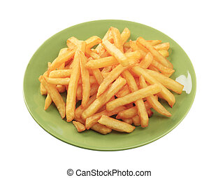 French fries - Heap of French fries on a green plate