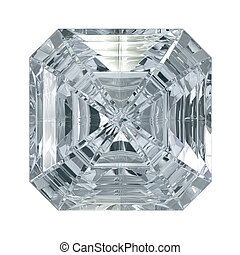 Asscher Cut Diamond isolated on black background