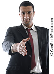 Business man giving you a hand shak - Confident business man...