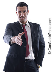 Business man giving you a hand shak