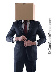 Anonymous business man with a cardboard box on his head...