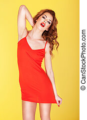Slender young girl in red dress - Slender young girl in a...