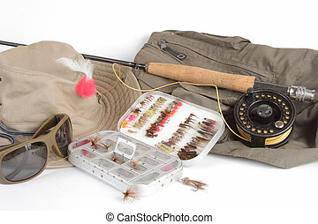 fishing tackle - Fishing rod and reel, hat, a box of flies,...