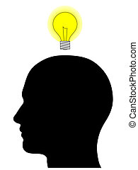 Male Head Silhouette With Light Bulb - A graphic of a male...