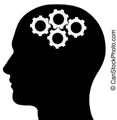 Male Head Silhouette With Gears - A graphic of a male head...