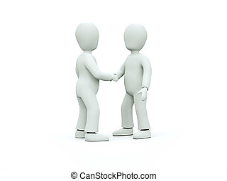 3D characters in ties shake hands on a white background -...