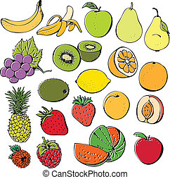 Fruit and berry collection - Fruit and berry set isolated on...