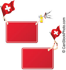 Switzerland Sport Message Frame with Flag. Set of Two