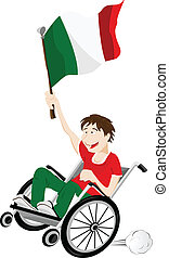 Italy Sport Fan Supporter on Wheelchair with Flag - Vector -...