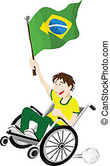 Brazil Sport Fan Supporter on Wheelchair with Flag - Vector...