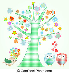 owl in love and bird with flowers textile stickers Vector