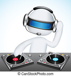 3d Disco Jockey in Vector