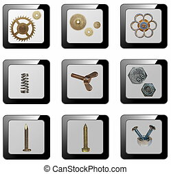 3d mechanical icons, (buttons)