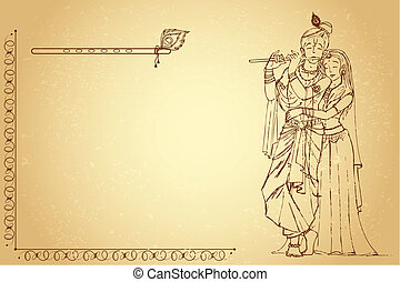 Radha Krishna on Paper - illustration of hindu goddess radha...