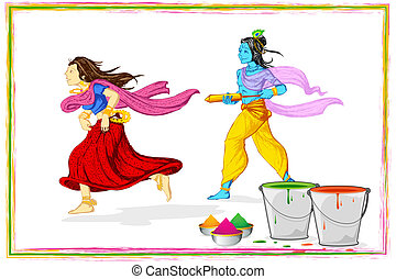 Radha Krishna Playing Holi