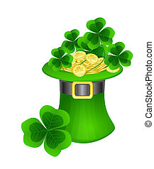 St Patrick hat with coins and clovers