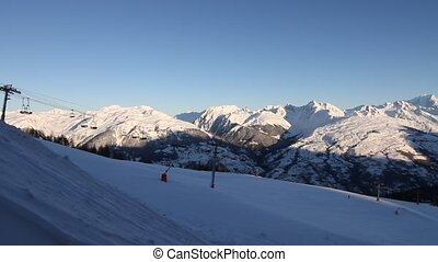 Winter ski resort in France - morning before opening time