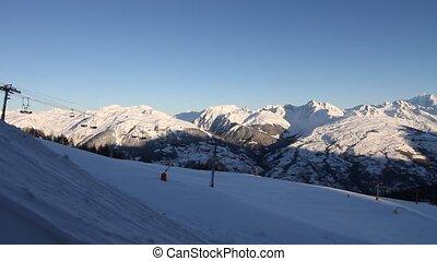 Winter ski resort in France