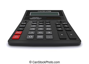 Black office calculator. 3D rendering