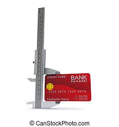 Caliper measures the credit card. Symbol measurement capabilities of credit cards