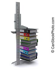 Caliper measures the number of office folders of different colors. Symbol of measurement information
