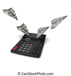 Calculator considers costs in the form of paper airplanes out of dollars. 3D rendering
