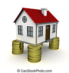 House with red roof stands on a foundation of dollar coins. 3D rendering