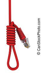 Red power cord into a gallows. 3D rendering
