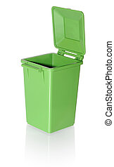Trash can - Empty green plastic garbage can with the lid...
