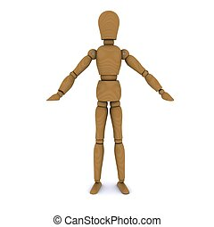 Wooden doll stands, hands to the sides 3D rendering