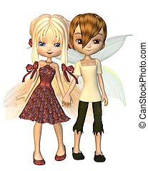 Cute Toon Fairy Friends - Cute toon fairy boy and girl...