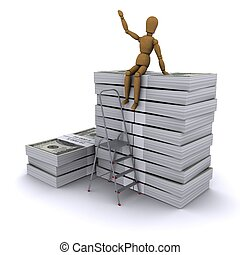 The wooden man climbed the ladder on the stack of dollars. 3D rendering