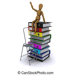 The wooden man climbed the ladder on the stack of books. 3D...