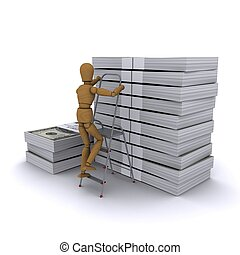 The wooden man climbs a ladder on a stack of dollars. 3D rendering
