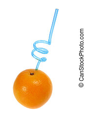 Orange with Drinking Straw with White Background
