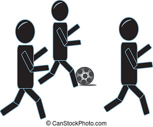 Stick Figures Paying Soccer - simple drawing of three stick...