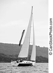 Sailing yacht black & white - Sport ailing boat with...