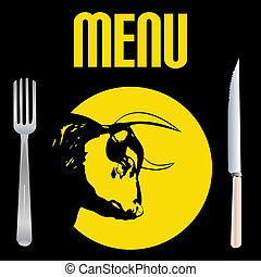 Steak Menu - Black Bull Head on a Plate for a Steakhouse...