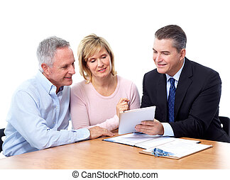 Senior couple with financial adviser. Isolated on white...