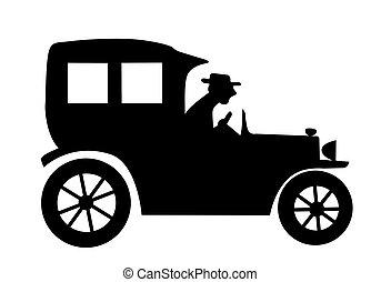 silueta, antiguo, coche, blanco, Plano de fondo
