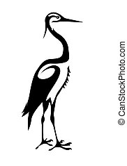 silhouette crane on white background