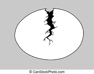 silhouette egg with rift on gray background - silhouette egg...