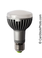 LED energy safing bulb. R63 E27. Isolated object - LED...