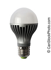 LED energy safing bulb A60 E27 Isolated object - LED energy...