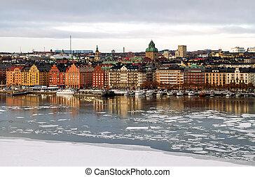 Stockholm in winter. - Kungsholmen, Stockholm in winter.