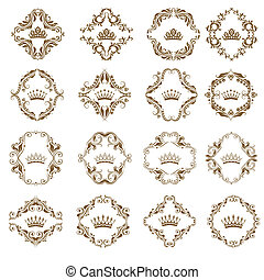Victorian crown and decorative elements. - Ornate vector...