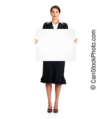 Woman with placard.