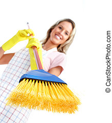 Young smiling cleaner woman.